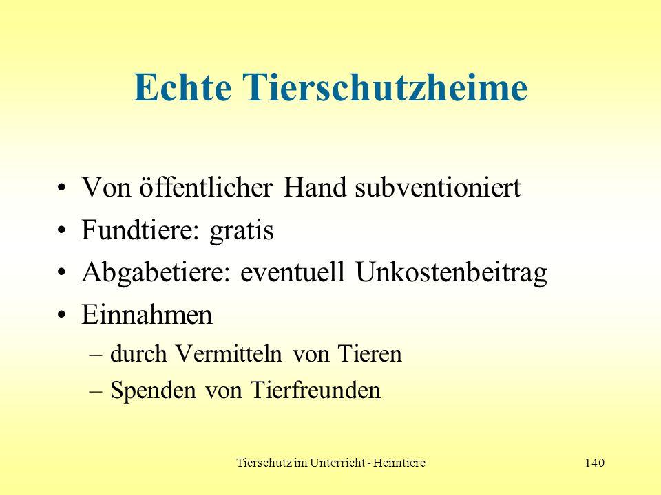 Tierschutz im Unterricht - Heimtiere140 Echte Tierschutzheime Von öffentlicher Hand subventioniert Fundtiere: gratis Abgabetiere: eventuell Unkostenbe