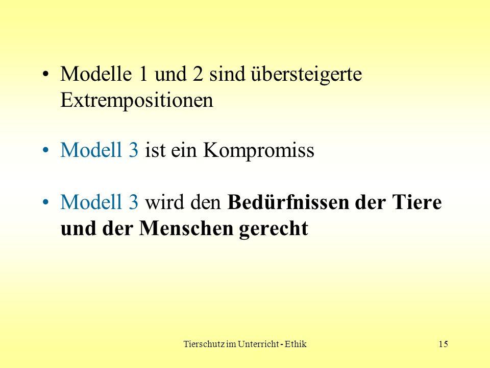Tierschutz im Unterricht - Ethik15 Modelle 1 und 2 sind übersteigerte Extrempositionen Modell 3 ist ein Kompromiss Modell 3 wird den Bedürfnissen der