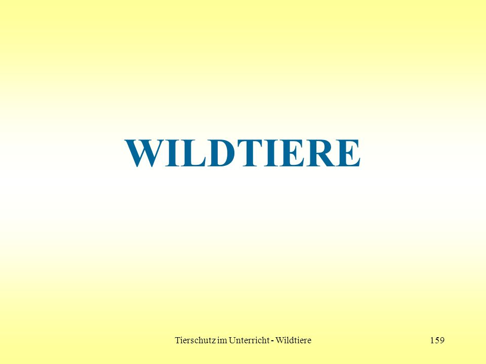 Tierschutz im Unterricht - Wildtiere159 WILDTIERE