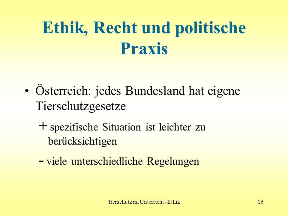 Tierschutz im Unterricht - Ethik16 Ethik, Recht und politische Praxis Österreich: jedes Bundesland hat eigene Tierschutzgesetze + spezifische Situatio