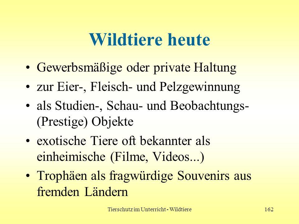 Tierschutz im Unterricht - Wildtiere162 Wildtiere heute Gewerbsmäßige oder private Haltung zur Eier-, Fleisch- und Pelzgewinnung als Studien-, Schau-
