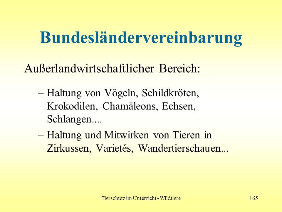 Tierschutz im Unterricht - Wildtiere165 Bundesländervereinbarung Außerlandwirtschaftlicher Bereich: –Haltung von Vögeln, Schildkröten, Krokodilen, Cha
