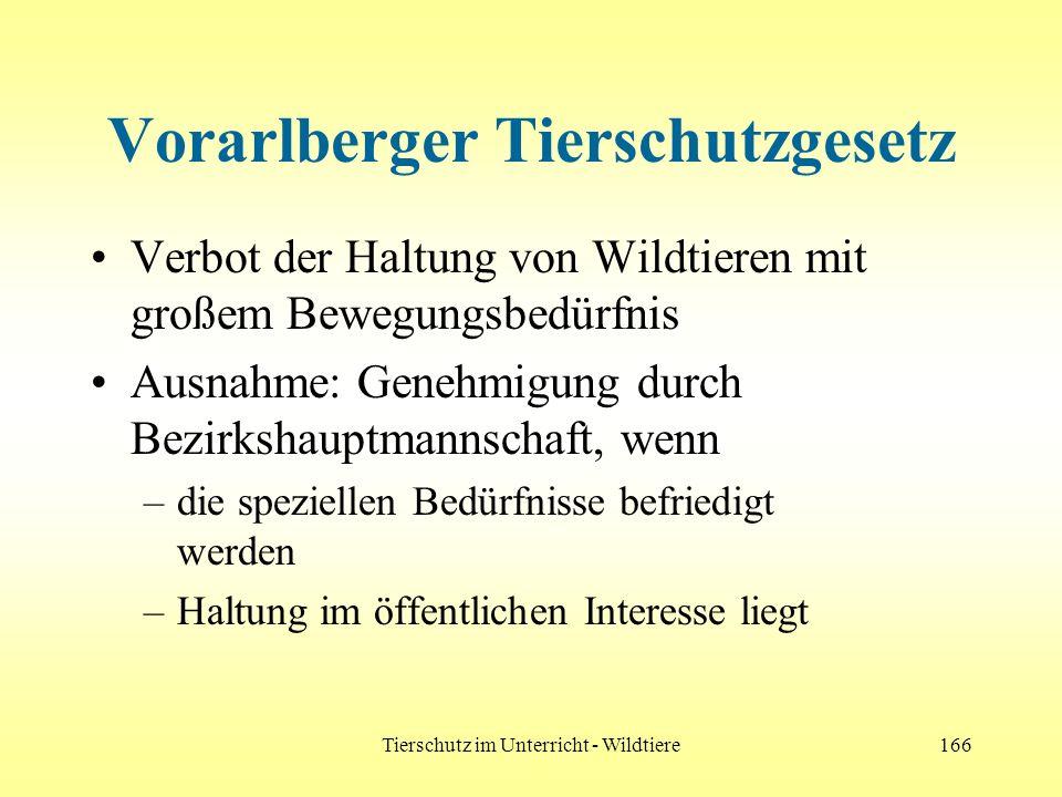 Tierschutz im Unterricht - Wildtiere166 Vorarlberger Tierschutzgesetz Verbot der Haltung von Wildtieren mit großem Bewegungsbedürfnis Ausnahme: Genehm