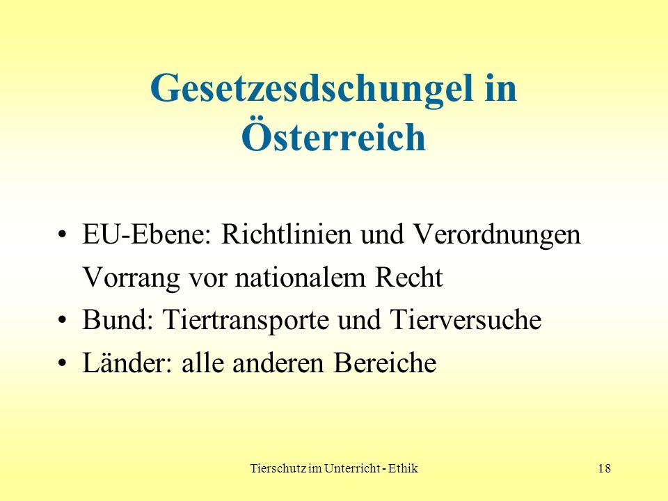Tierschutz im Unterricht - Ethik18 Gesetzesdschungel in Österreich EU-Ebene: Richtlinien und Verordnungen Vorrang vor nationalem Recht Bund: Tiertrans
