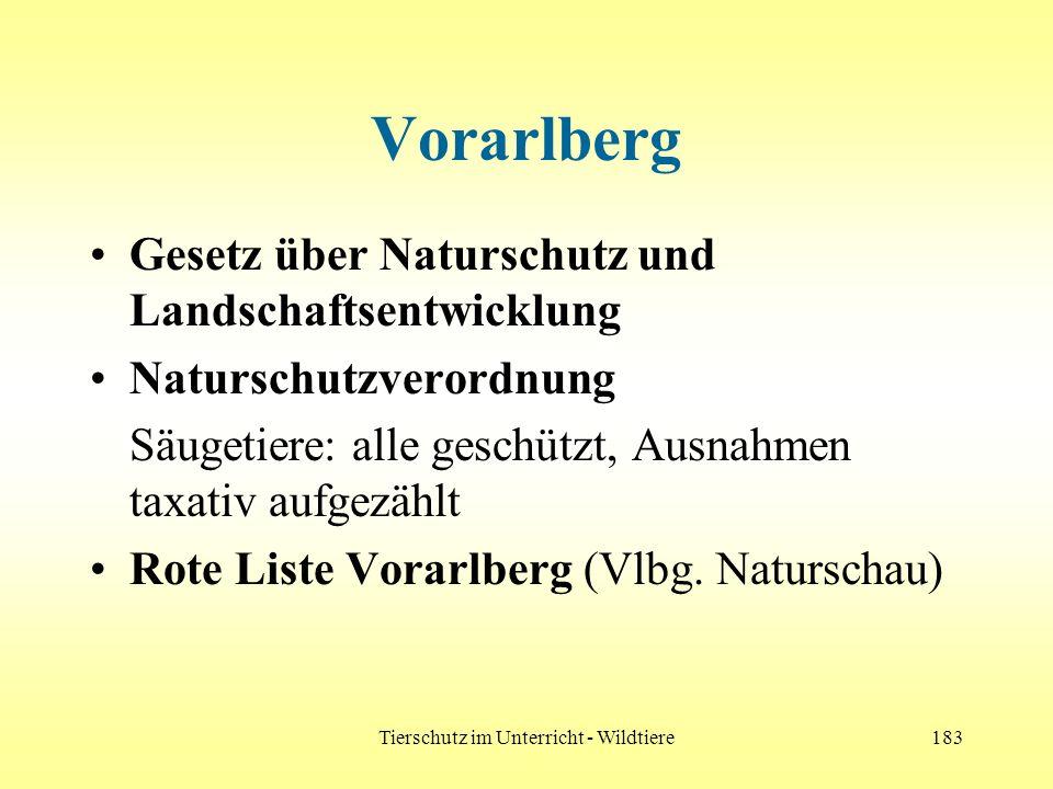 Tierschutz im Unterricht - Wildtiere183 Vorarlberg Gesetz über Naturschutz und Landschaftsentwicklung Naturschutzverordnung Säugetiere: alle geschützt