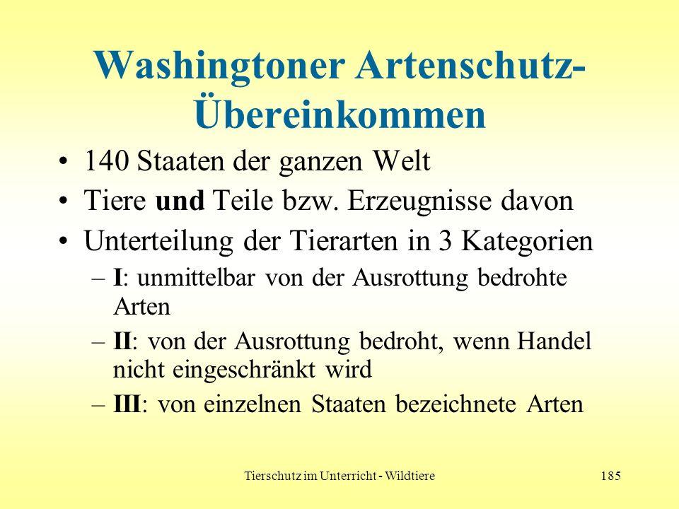 Tierschutz im Unterricht - Wildtiere185 Washingtoner Artenschutz- Übereinkommen 140 Staaten der ganzen Welt Tiere und Teile bzw. Erzeugnisse davon Unt