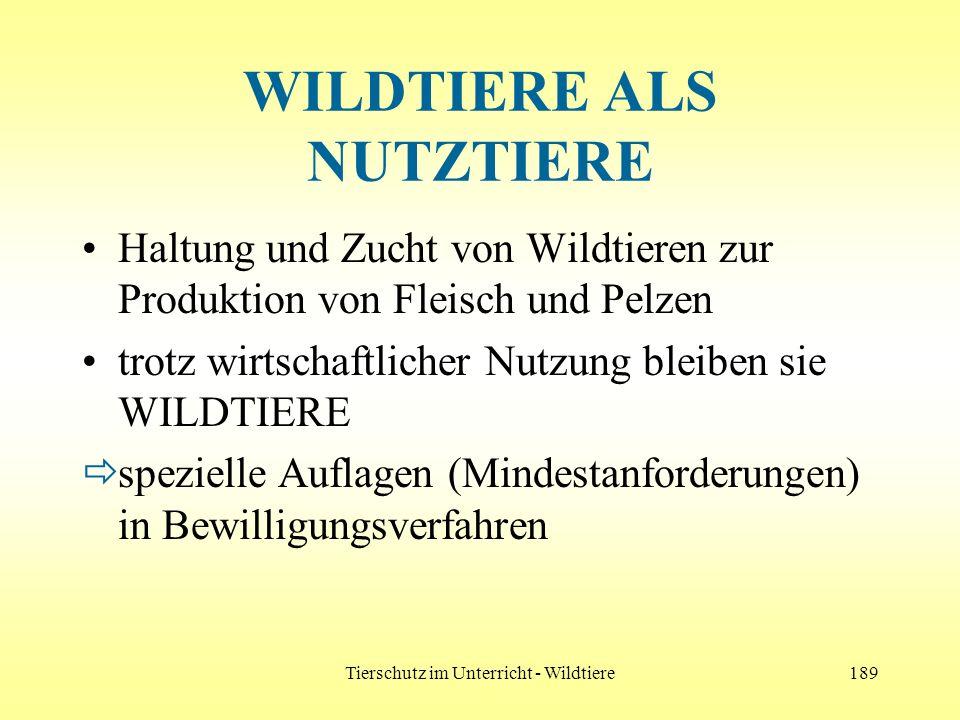 Tierschutz im Unterricht - Wildtiere189 WILDTIERE ALS NUTZTIERE Haltung und Zucht von Wildtieren zur Produktion von Fleisch und Pelzen trotz wirtschaf