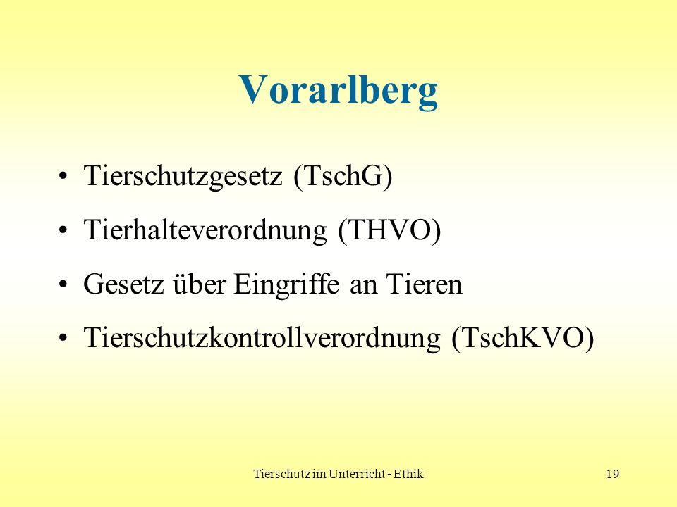 Tierschutz im Unterricht - Ethik19 Vorarlberg Tierschutzgesetz (TschG) Tierhalteverordnung (THVO) Gesetz über Eingriffe an Tieren Tierschutzkontrollve