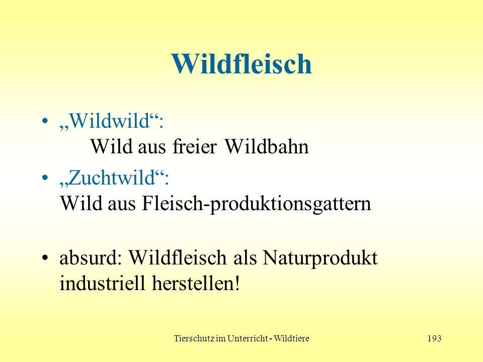 Tierschutz im Unterricht - Wildtiere193 Wildfleisch Wildwild: Wild aus freier Wildbahn Zuchtwild: Wild aus Fleisch-produktionsgattern absurd: Wildflei
