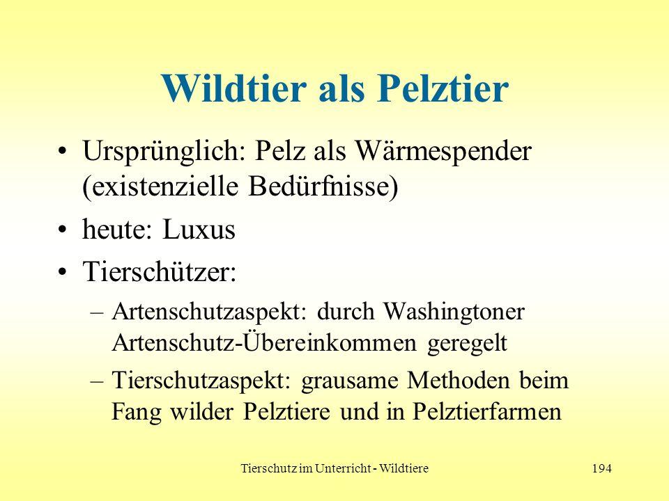 Tierschutz im Unterricht - Wildtiere194 Wildtier als Pelztier Ursprünglich: Pelz als Wärmespender (existenzielle Bedürfnisse) heute: Luxus Tierschütze