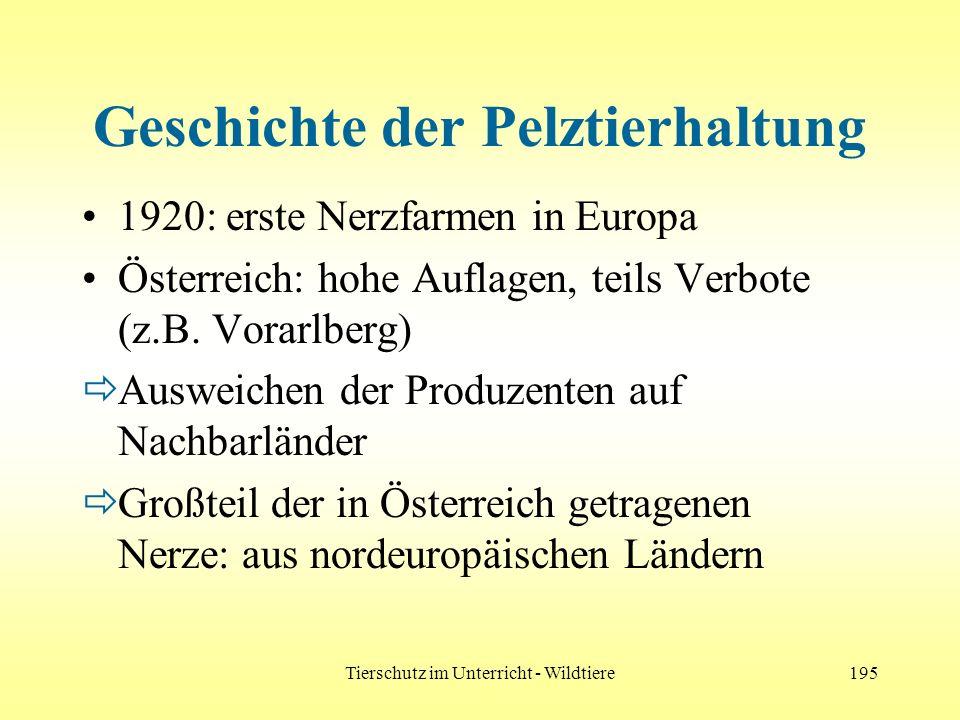 Tierschutz im Unterricht - Wildtiere195 Geschichte der Pelztierhaltung 1920: erste Nerzfarmen in Europa Österreich: hohe Auflagen, teils Verbote (z.B.