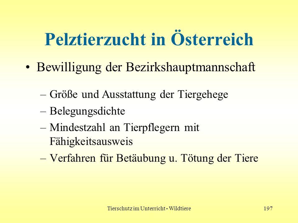 Tierschutz im Unterricht - Wildtiere197 Pelztierzucht in Österreich Bewilligung der Bezirkshauptmannschaft –Größe und Ausstattung der Tiergehege –Bele