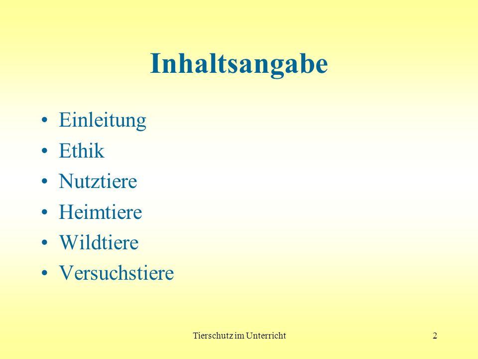 Tierschutz im Unterricht - Wildtiere213 Haltung Künstlicher Lebensraum: keine physische u.