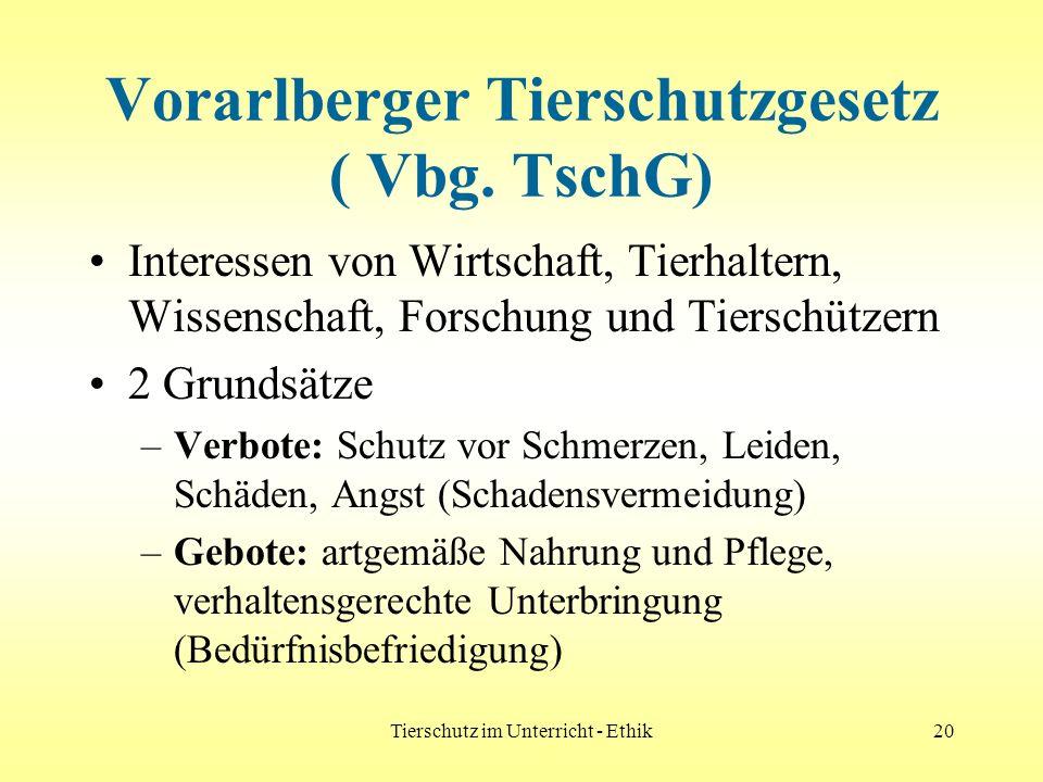 Tierschutz im Unterricht - Ethik20 Vorarlberger Tierschutzgesetz ( Vbg. TschG) Interessen von Wirtschaft, Tierhaltern, Wissenschaft, Forschung und Tie