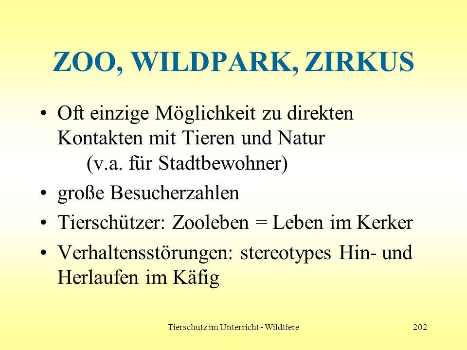 Tierschutz im Unterricht - Wildtiere202 ZOO, WILDPARK, ZIRKUS Oft einzige Möglichkeit zu direkten Kontakten mit Tieren und Natur (v.a. für Stadtbewohn