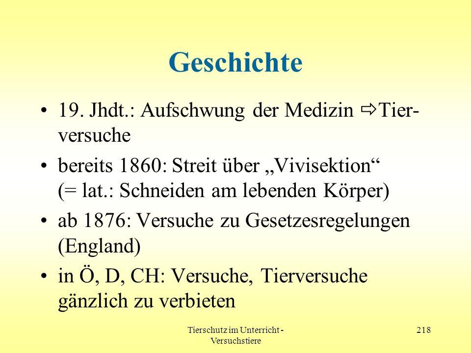 Tierschutz im Unterricht - Versuchstiere 218 Geschichte 19. Jhdt.: Aufschwung der Medizin Tier- versuche bereits 1860: Streit über Vivisektion (= lat.