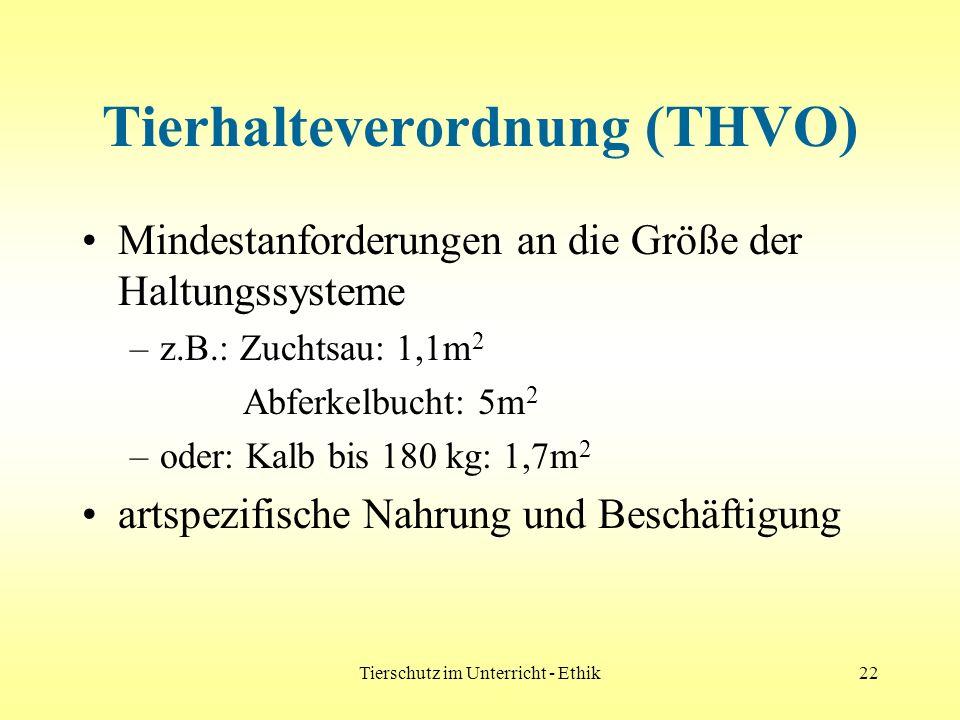 Tierschutz im Unterricht - Ethik22 Tierhalteverordnung (THVO) Mindestanforderungen an die Größe der Haltungssysteme –z.B.: Zuchtsau: 1,1m 2 Abferkelbu