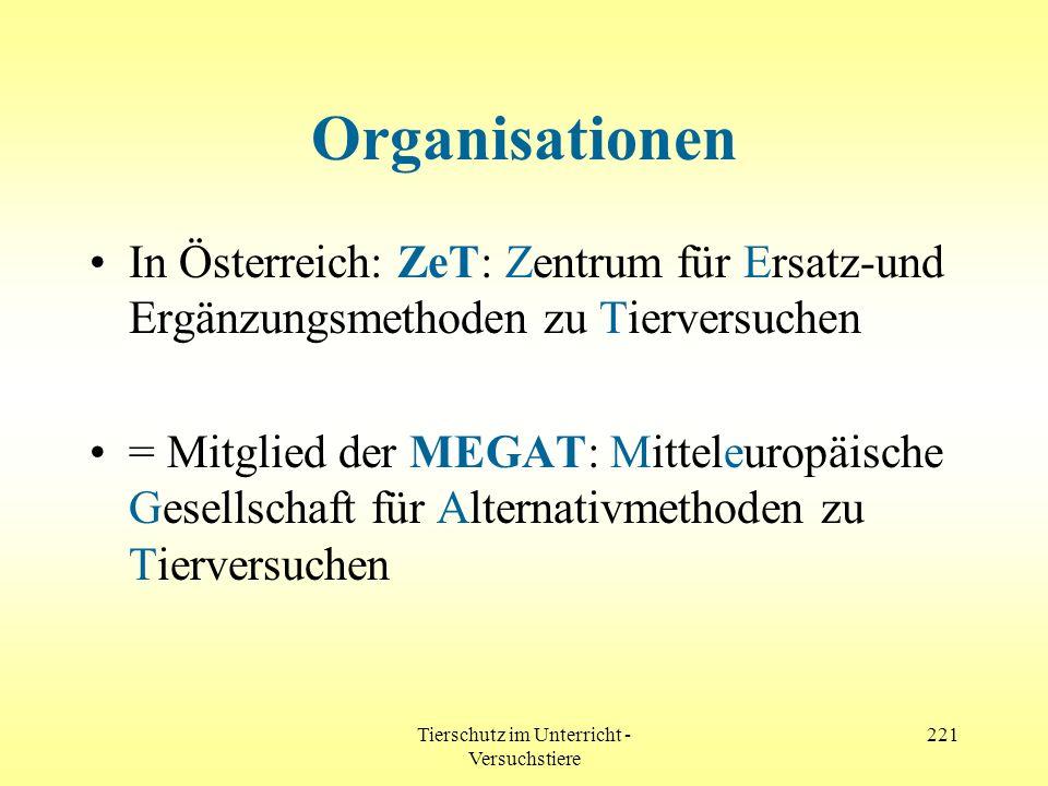 Tierschutz im Unterricht - Versuchstiere 221 Organisationen In Österreich: ZeT: Zentrum für Ersatz-und Ergänzungsmethoden zu Tierversuchen = Mitglied