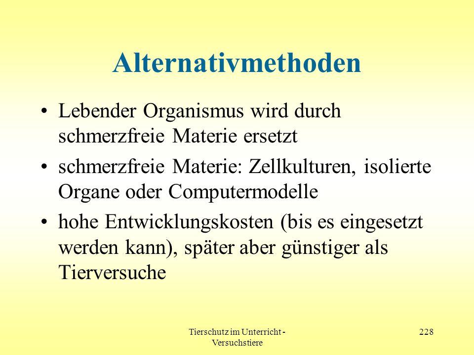 Tierschutz im Unterricht - Versuchstiere 228 Alternativmethoden Lebender Organismus wird durch schmerzfreie Materie ersetzt schmerzfreie Materie: Zell