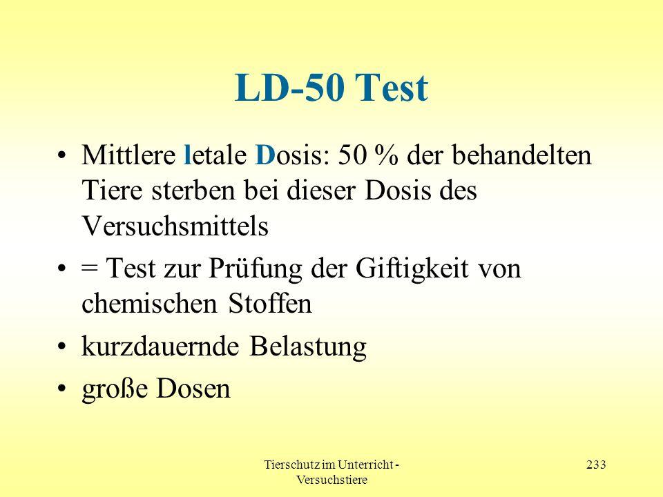 Tierschutz im Unterricht - Versuchstiere 233 LD-50 Test Mittlere letale Dosis: 50 % der behandelten Tiere sterben bei dieser Dosis des Versuchsmittels