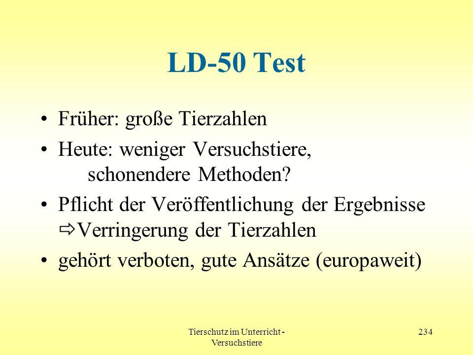 Tierschutz im Unterricht - Versuchstiere 234 LD-50 Test Früher: große Tierzahlen Heute: weniger Versuchstiere, schonendere Methoden? Pflicht der Veröf