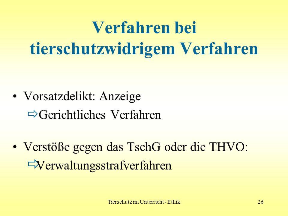 Tierschutz im Unterricht - Ethik26 Verfahren bei tierschutzwidrigem Verfahren Vorsatzdelikt: Anzeige Gerichtliches Verfahren Verstöße gegen das TschG