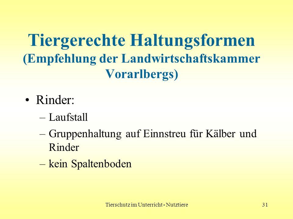 Tierschutz im Unterricht - Nutztiere31 Tiergerechte Haltungsformen (Empfehlung der Landwirtschaftskammer Vorarlbergs) Rinder: –Laufstall –Gruppenhaltu