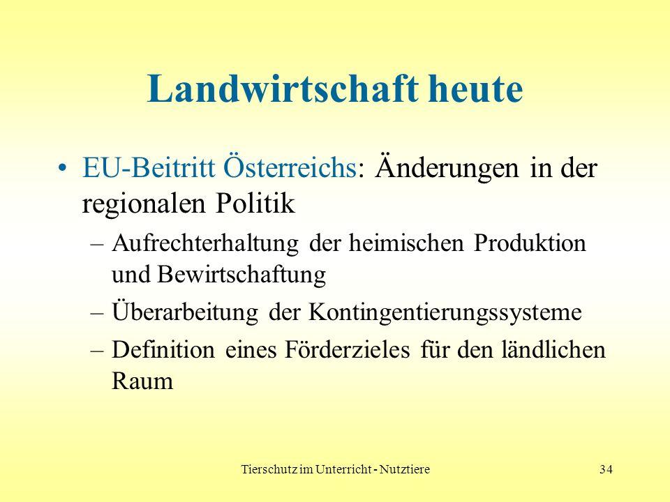 Tierschutz im Unterricht - Nutztiere34 Landwirtschaft heute EU-Beitritt Österreichs: Änderungen in der regionalen Politik –Aufrechterhaltung der heimi
