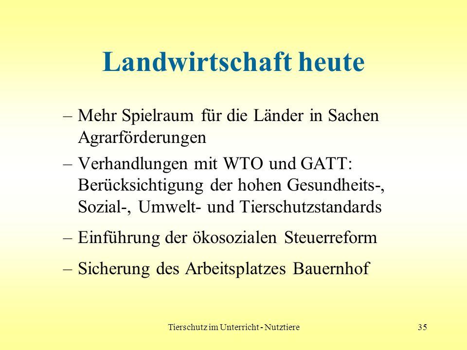 Tierschutz im Unterricht - Nutztiere35 Landwirtschaft heute –Mehr Spielraum für die Länder in Sachen Agrarförderungen –Verhandlungen mit WTO und GATT: