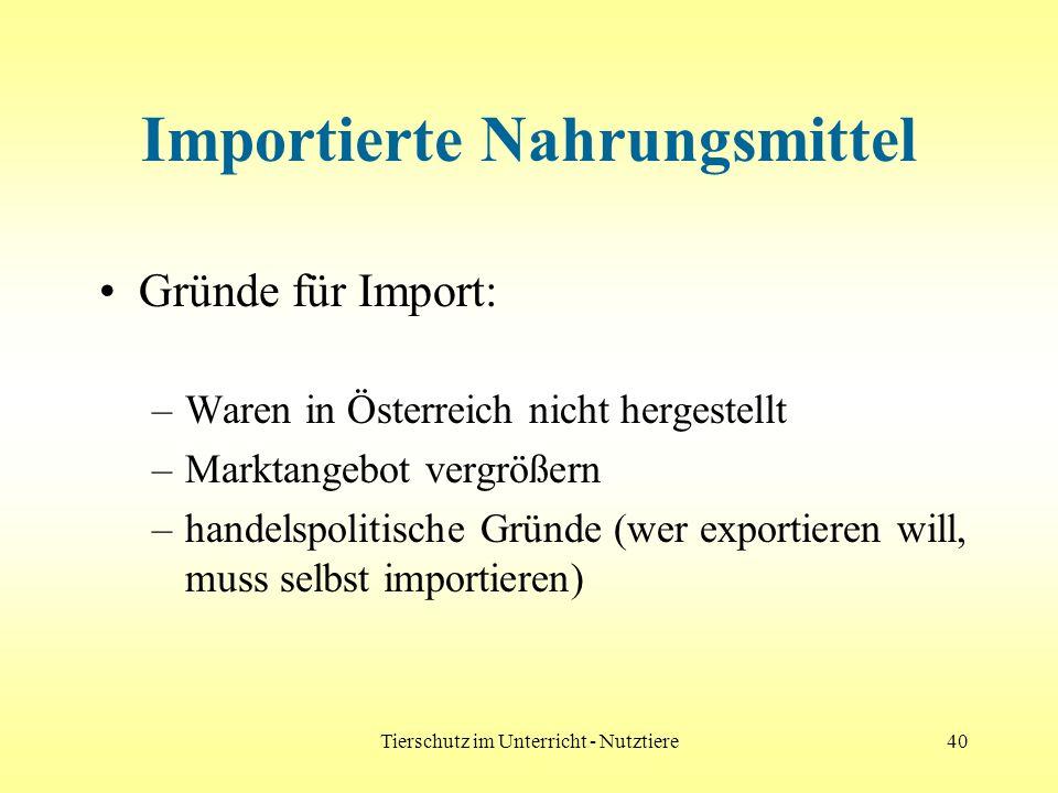 Tierschutz im Unterricht - Nutztiere40 Importierte Nahrungsmittel Gründe für Import: –Waren in Österreich nicht hergestellt –Marktangebot vergrößern –