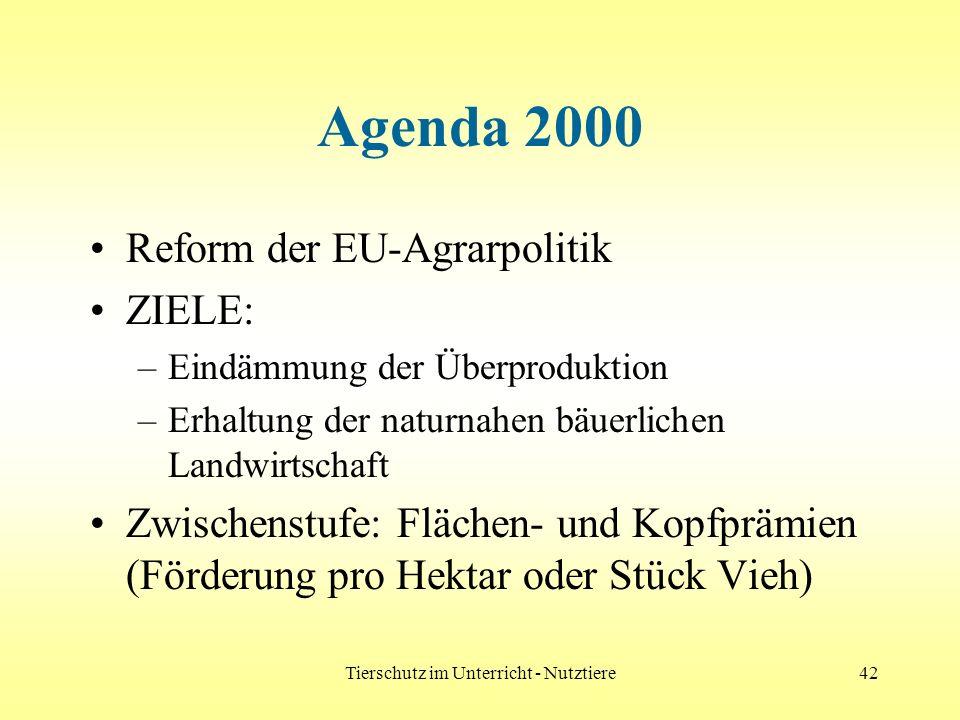 Tierschutz im Unterricht - Nutztiere42 Agenda 2000 Reform der EU-Agrarpolitik ZIELE: –Eindämmung der Überproduktion –Erhaltung der naturnahen bäuerlic