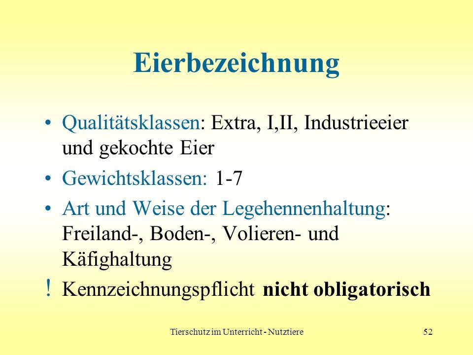 Tierschutz im Unterricht - Nutztiere52 Eierbezeichnung Qualitätsklassen: Extra, I,II, Industrieeier und gekochte Eier Gewichtsklassen: 1-7 Art und Wei