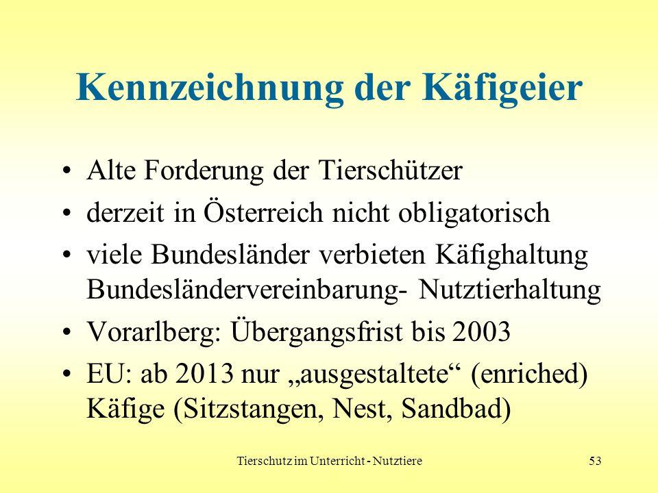 Tierschutz im Unterricht - Nutztiere53 Kennzeichnung der Käfigeier Alte Forderung der Tierschützer derzeit in Österreich nicht obligatorisch viele Bun