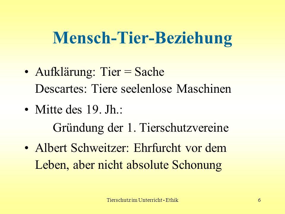Tierschutz im Unterricht - Ethik6 Mensch-Tier-Beziehung Aufklärung: Tier = Sache Descartes: Tiere seelenlose Maschinen Mitte des 19. Jh.: Gründung der