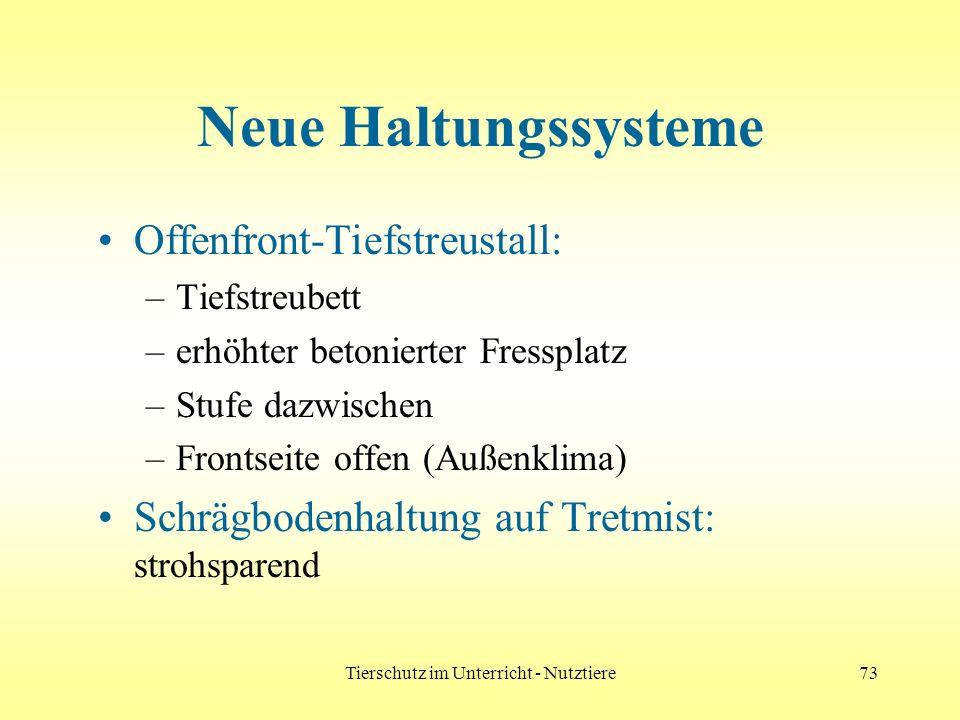 Tierschutz im Unterricht - Nutztiere73 Neue Haltungssysteme Offenfront-Tiefstreustall: –Tiefstreubett –erhöhter betonierter Fressplatz –Stufe dazwisch