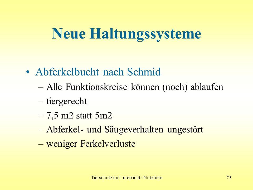 Tierschutz im Unterricht - Nutztiere75 Neue Haltungssysteme Abferkelbucht nach Schmid –Alle Funktionskreise können (noch) ablaufen –tiergerecht –7,5 m