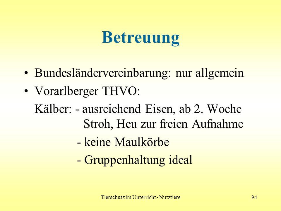 Tierschutz im Unterricht - Nutztiere94 Betreuung Bundesländervereinbarung: nur allgemein Vorarlberger THVO: Kälber: - ausreichend Eisen, ab 2. Woche S