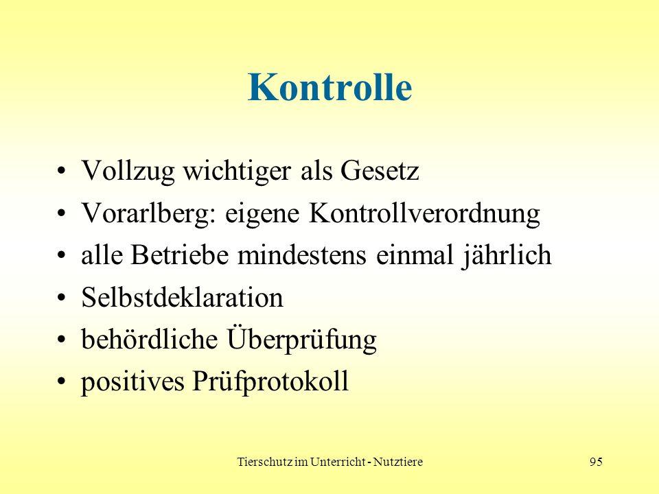 Tierschutz im Unterricht - Nutztiere95 Kontrolle Vollzug wichtiger als Gesetz Vorarlberg: eigene Kontrollverordnung alle Betriebe mindestens einmal jä