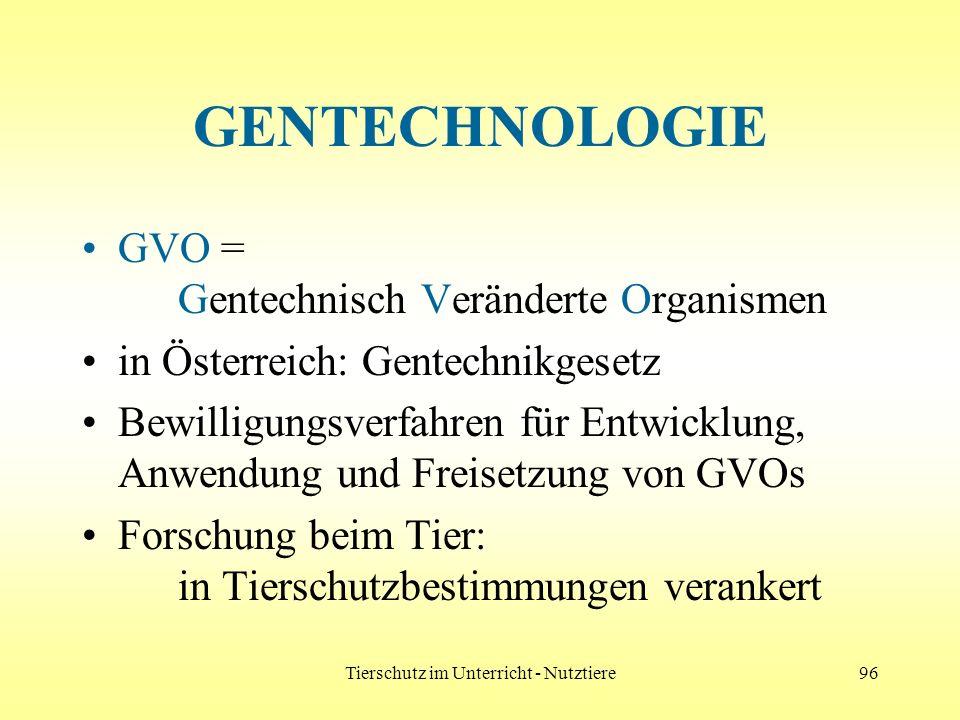 Tierschutz im Unterricht - Nutztiere96 GENTECHNOLOGIE GVO = Gentechnisch Veränderte Organismen in Österreich: Gentechnikgesetz Bewilligungsverfahren f