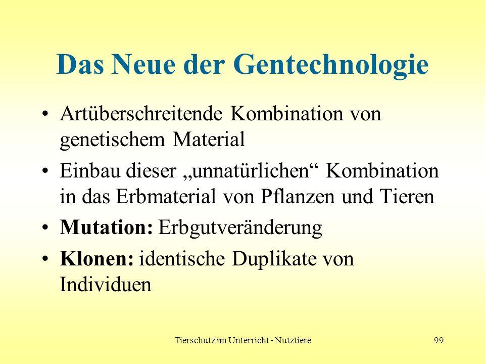 Tierschutz im Unterricht - Nutztiere99 Das Neue der Gentechnologie Artüberschreitende Kombination von genetischem Material Einbau dieser unnatürlichen