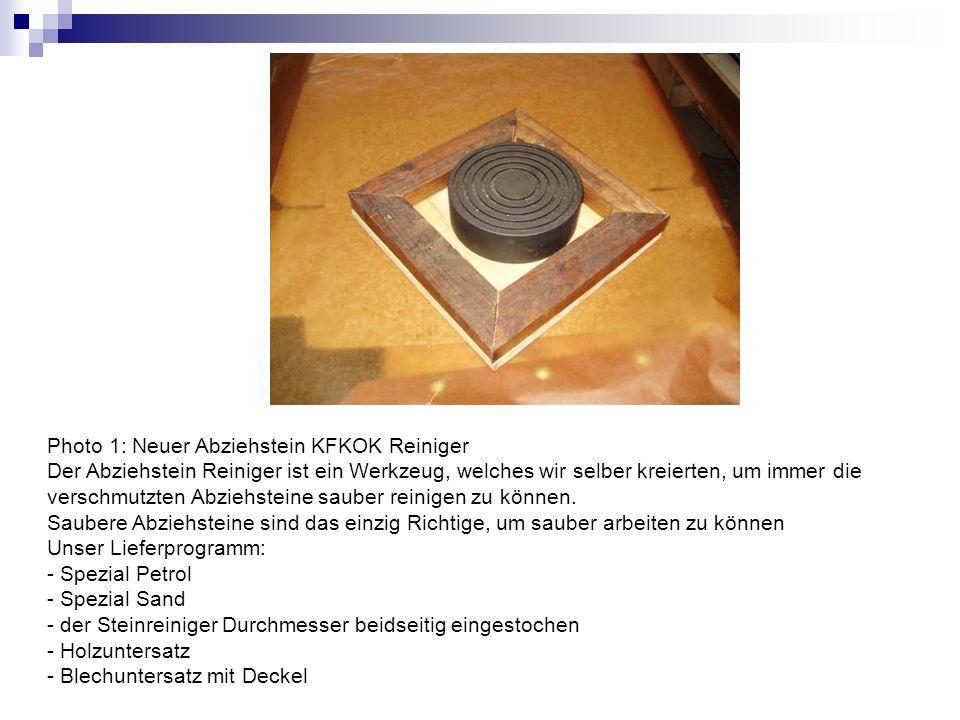 Photo 2: Der KFKOK Abziehstein Reiniger ist so gemacht, dass er auf beiden Seiten benützbar ist; er ist nicht zu leicht.