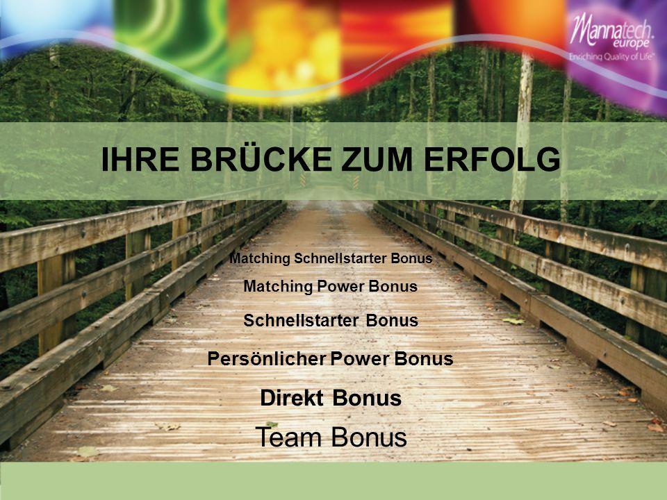 Team Bonus IHRE BRÜCKE ZUM ERFOLG Direkt Bonus Persönlicher Power Bonus Schnellstarter Bonus Matching Power Bonus Matching Schnellstarter Bonus