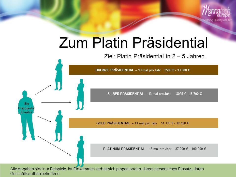 Sie Präsidential Direktor Zum Platin Präsidential Ziel: Platin Präsidential in 2 – 5 Jahren. BRONZE PRÄSIDENTIAL – 13 mal pro Jahr 5580 - 13.000 GOLD