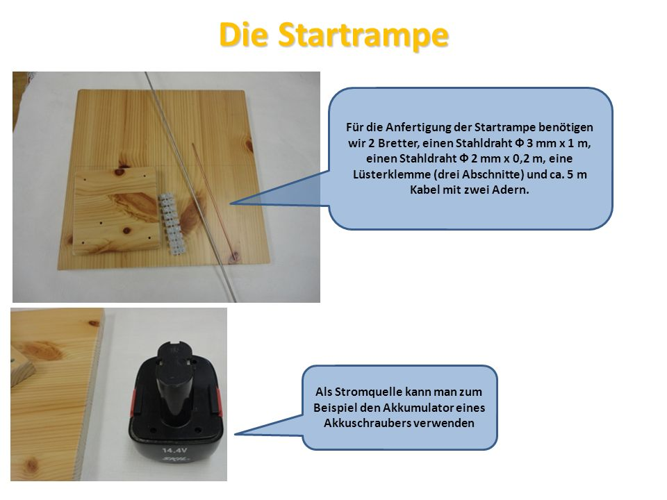 Die Startrampe Für die Anfertigung der Startrampe benötigen wir 2 Bretter, einen Stahldraht Ф 3 mm x 1 m, einen Stahldraht Ф 2 mm x 0,2 m, eine Lüster