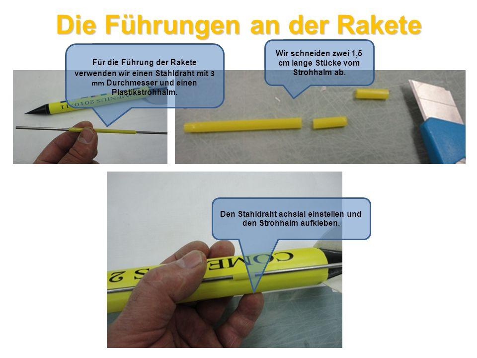 Start Das Modell wird mit den Füh-rungen auf den langen Stahldraht … …und der Zünder in die Düse des Raketenmotors gesteckt.