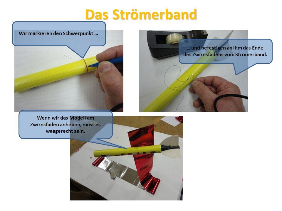 Das Strömerband Wir markieren den Schwerpunkt … … und befestigen an ihm das Ende des Zwirnsfadens vom Strömerband. Wenn wir das Modell am Zwirnsfaden