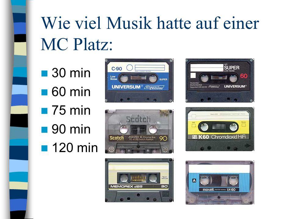 Wie viel Musik hatte auf einer MC Platz: 30 min 60 min 75 min 90 min 120 min
