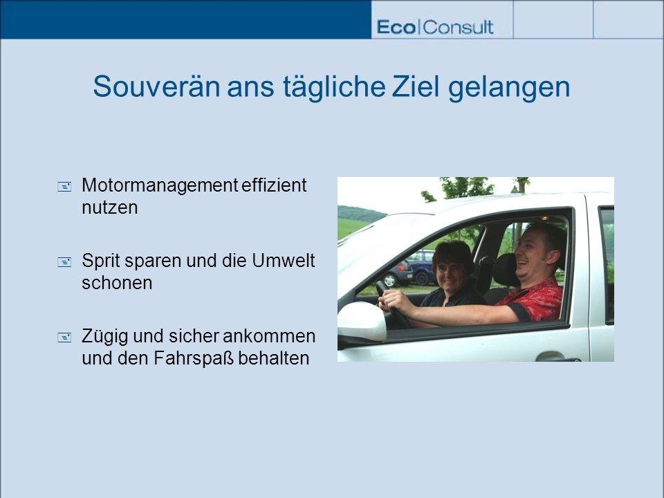 Souverän ans tägliche Ziel gelangen Motormanagement effizient nutzen Sprit sparen und die Umwelt schonen Zügig und sicher ankommen und den Fahrspaß be