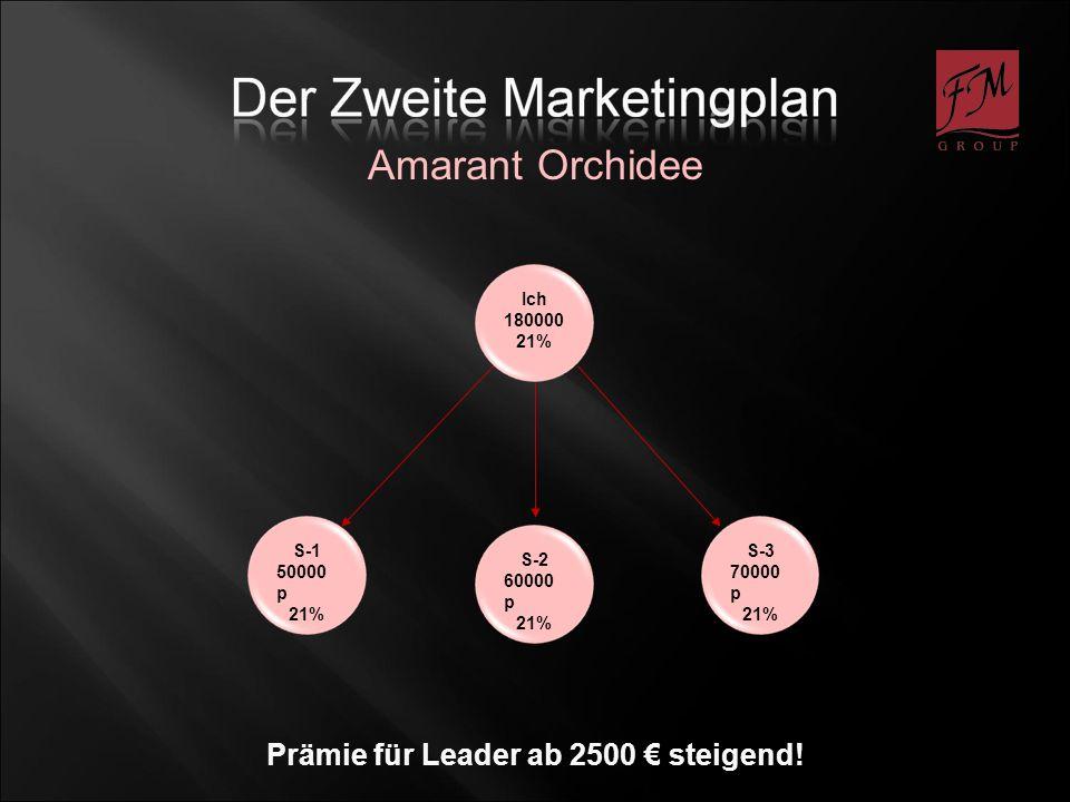 S-1 50000 p 21% S-2 60000 p 21% S-3 70000 p 21% Amarant Orchidee Ich 180000 21% Prämie für Leader ab 2500 steigend!
