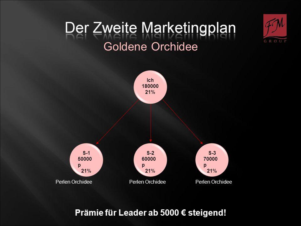 S-1 50000 p 21% Ich 180000 21% S-2 60000 p 21% S-3 70000 p 21% Perlen Orchidee Goldene Orchidee Prämie für Leader ab 5000 steigend!